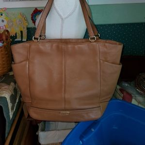 COACH XL NORTH/SOUTH PARK LEATHER TOTE